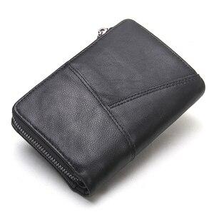 Image 4 - 브랜드 남자 지갑 클러치 블랙 정품 암소 가죽 남성 돈 가방 달러 가격에 대 한 동전 지갑 주위에 고품질 디자인 지퍼