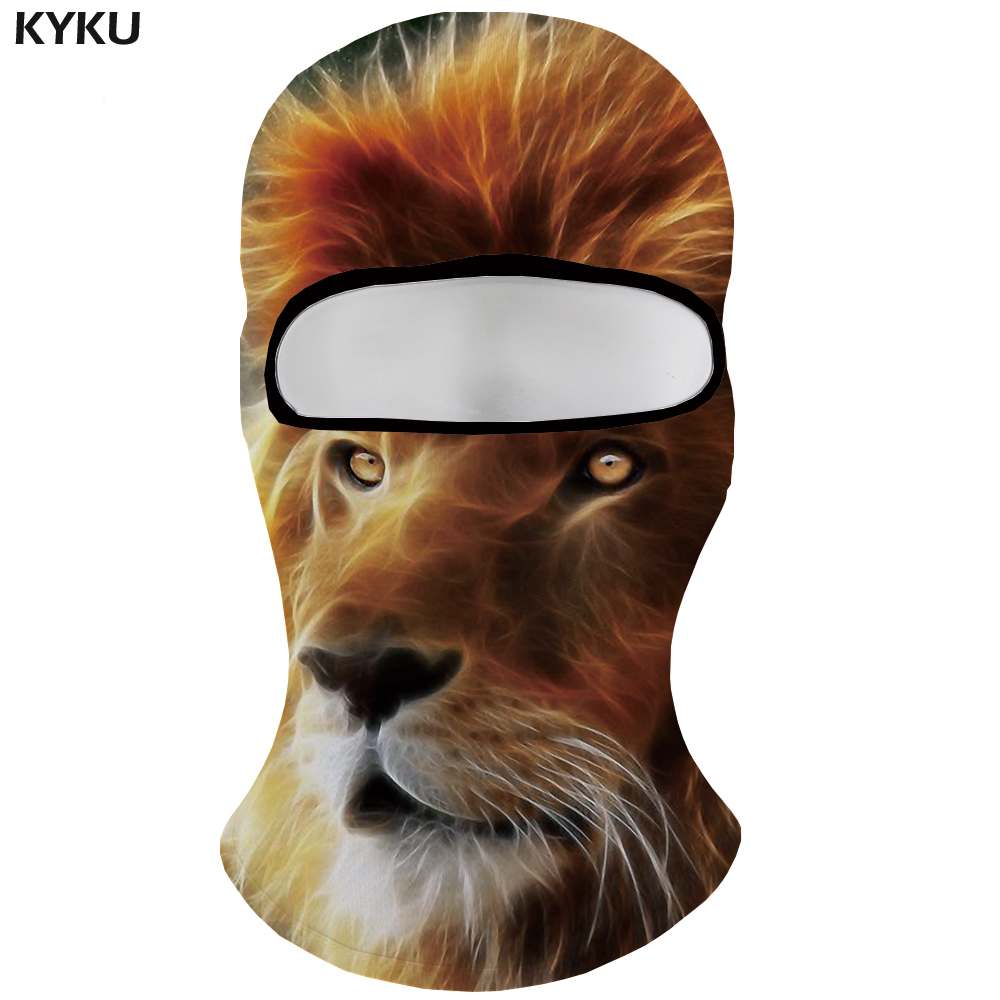 KYKU Brand Lion Skullies Beanies Men Gray Hats Animal ski cap Gothic  Casquette Bicycle Mask Balaclava Mens Beanie Breathable 32410db76a0f