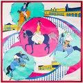 90 cm * 90 cm pista de corridas de Cavalo Impresso Marca de Moda estilo Europeu das mulheres de seda de cetim grande lenço quadrado