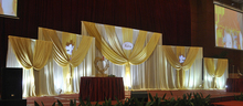 Large White Wedding Backdrops Curtain with Five Detachable Swag Party Decoration Background Curtain