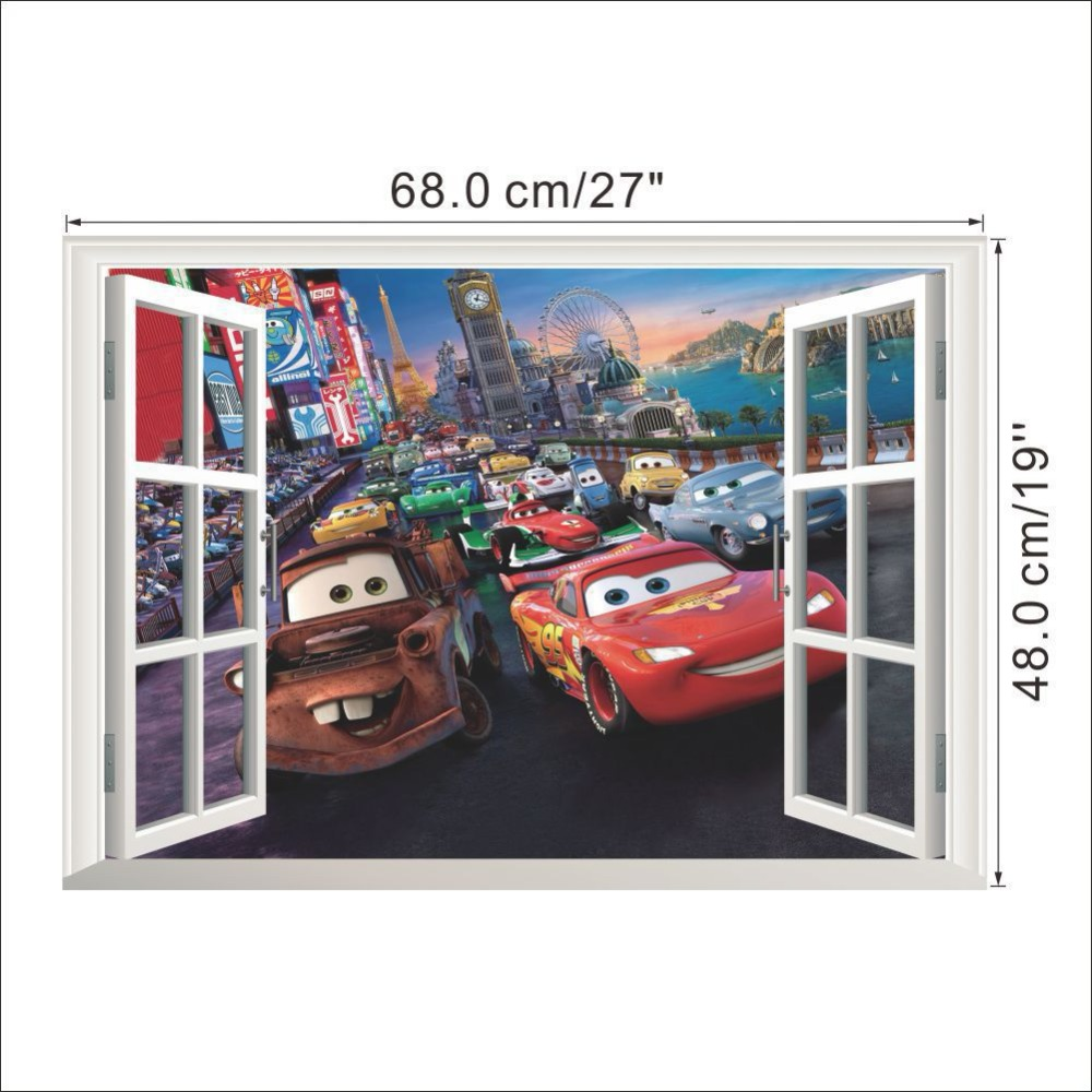HTB1CFJTXsvrK1Rjy0Feq6ATmVXaL - 3D DIY Pixar Cars Lightning McQueen Wall Sticker + Free Shipping