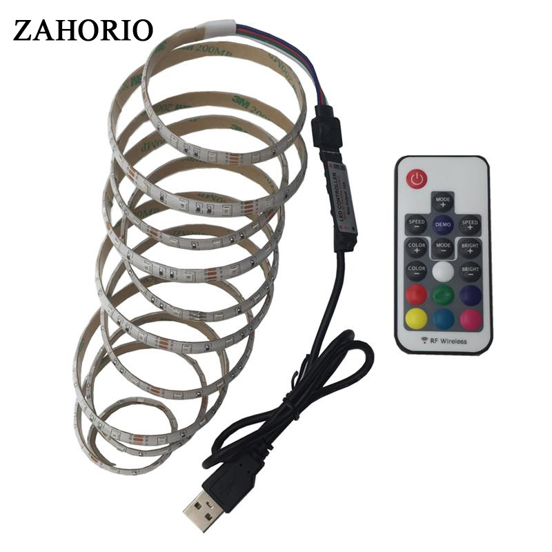 SMD 2835 LED Strip Light DC5V waterproof USB Cable Power 50CM 1M 2M Desk String Light Tape For TV Background Lighting Free ship