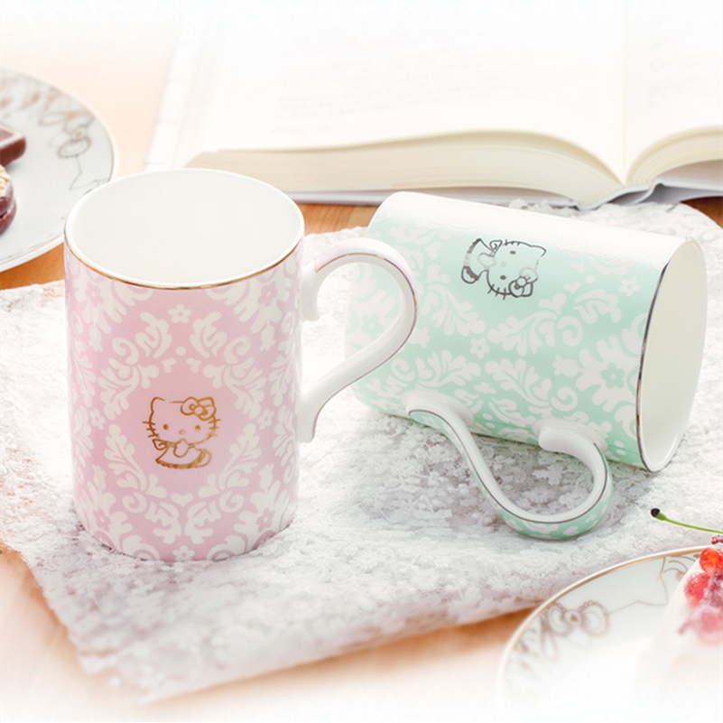 Hello Kitty Cat Bone China Light Thin Bright Milk Coffee Mug Caneca Copo Tea Water Cup Drinkware Tumbler Cafe Festival Gift Box