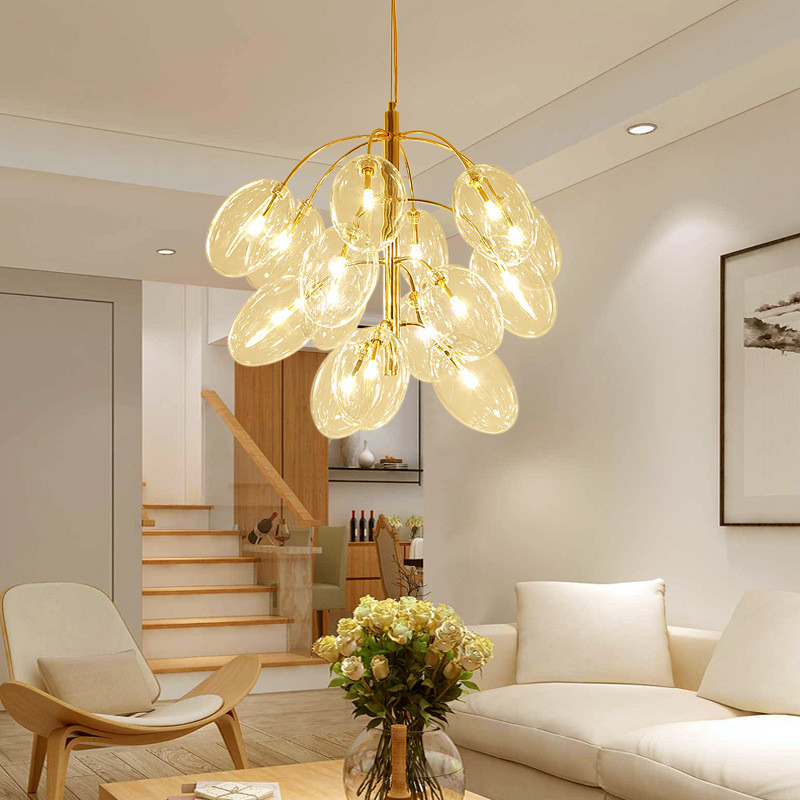 Postmodern simple restaurant glass bubble ball chandelier clothing store creative grape string living room lamp free shipping
