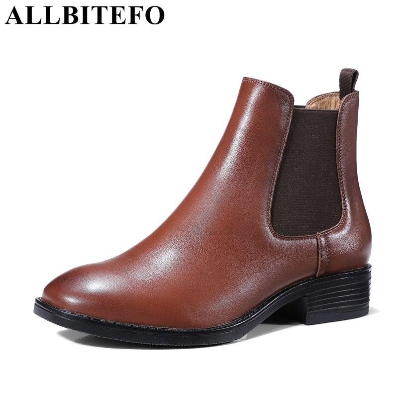 ALLBITEFO genuine leather square toe women boots thick heel medium heel ankle boots fashion winter grils boots bota de neve selens pro 100x100mm 12nd square medium