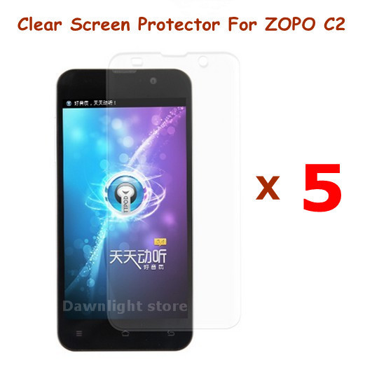 5 Pieces of Clear Anti-Scratch Screen Protector Film For ZOPO C2 Android Cell Phone , free shipping