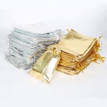 50 шт., 7X9/9X12/10X15/13X18 см, серебристый/золотой цвет, металлическая фольга, мешочки из органзы, на Рождество, свадьбу, вечеринку, Любимые Подарки, сумки для конфет