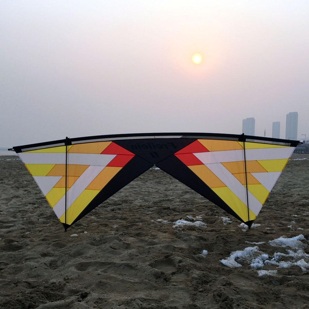 Stunt Kite Outdoor Fun Sport Quad Line Power Stunt Kite 16 Colors Beach Kite Flying for Adults 16 colors x vented outdoor playing quad line stunt kite 4 lines beach flying sport kite with 25m line 2pcs handles