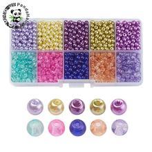 1500 unids/caja Mezcla Para Hornear Redonda Pintada Crujido Cuentas De Vidrio perlas de Perlas de Cristal Establece para La Fabricación de Joyas DIY, 4 ~ 4.5x4mm, Agujero: 1mm