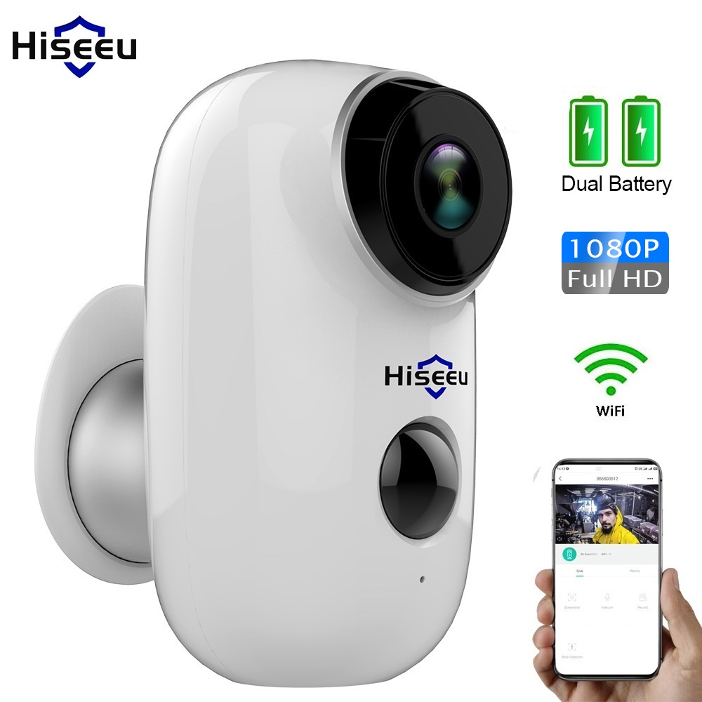 1080P WI-FI Câmera IP Ao Ar Livre Câmera IP Sem Fio Recarregável Da Bateria PIR Detecção de Movimento À Prova D' Água Visão Aplicativo Hiseeu