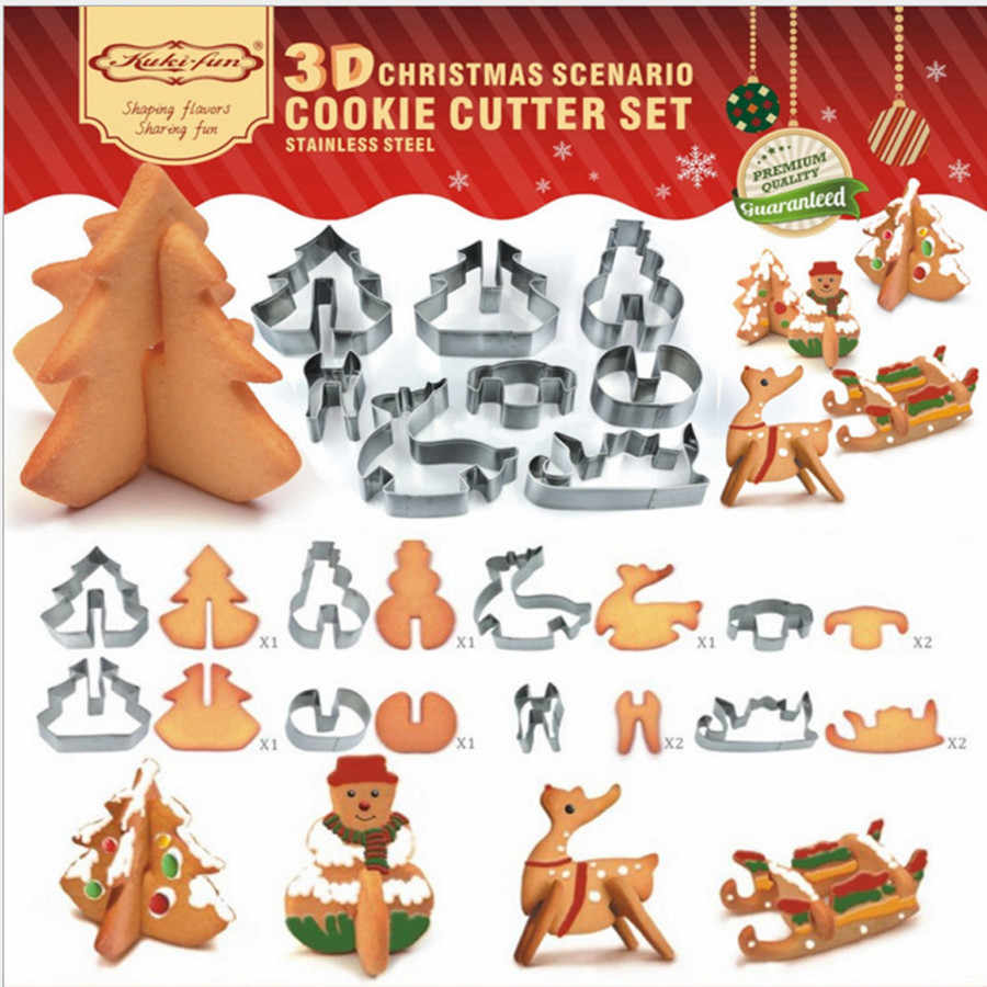 8 Pcs Cookie Cutter 3D Christmas Cookie Cutter Set Dropshipping Cake Biscuit Tools