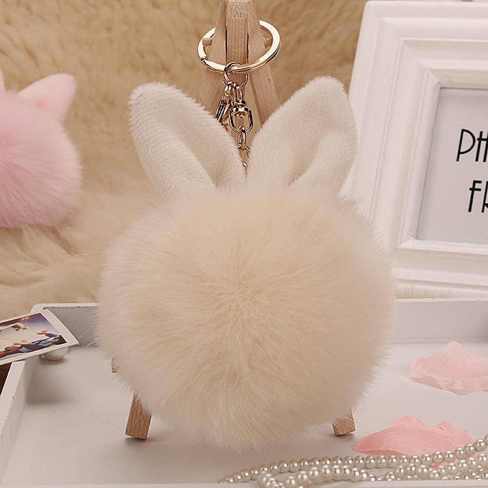 Trinket rabbit Bunny Rabbit keychain Pompon Fluffy Women Rabbit Ear Fur Ball Key Chain Rings Bag femme Pom Pom key ring rabbit pattern pom pom pullover