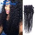 Brazilian Curly Hair Closure 1 Pcs Lace Closure Virgin Brazilian Hair Extension Kinky Curly Cheap  Wet And Wavy Human Hair