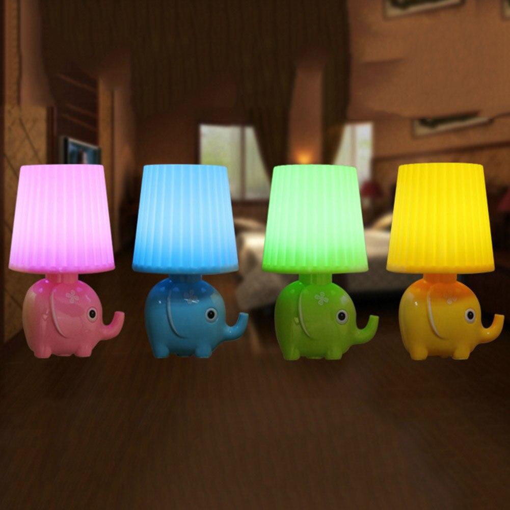 Прекрасный мультфильм слон настольные лампы моды Спальня ночники чтение Стол Lights