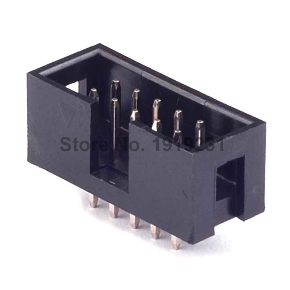 50PCS DC3 10 Pin Shrouded Male Header Connector 2.54mm image