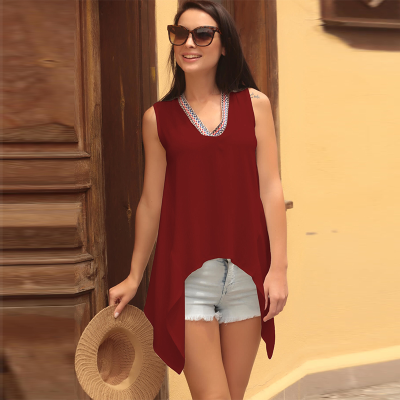 2019 New Fashion Ladies V Neck Sleeveless Shirts Casual Summer Loose Solid Color Tops Plus Size Blouse