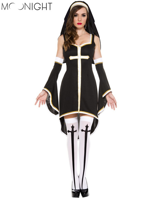 MOONIGHT Sexy Nun Costume Adult Women Cosplay Dress With Black Hood For Halloween Sister Cosplay Party Costume