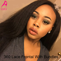360 Lace Frontal With Bundles Kinky Straight Human Hair Brazilian Virgin Hair With Closure 360 Lace Frontal Closure With Bundles