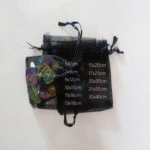 1000 Uds. Bolsas negras de regalo para bolsas bolsa de Organza con cordón de joyería y bolsa de viaje para boda/mujer bolsas de exhibición de almacenamiento de viaje