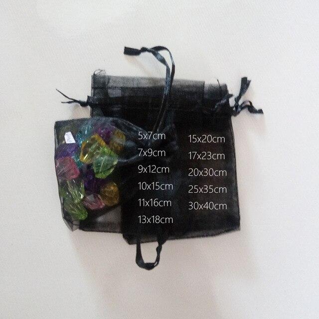 1000 adet Siyah hediye keseleri Için takı çantaları Ve Ambalaj organze çanta İpli Çanta Düğün/Kadın Seyahat Depolama Ekran Torbalar