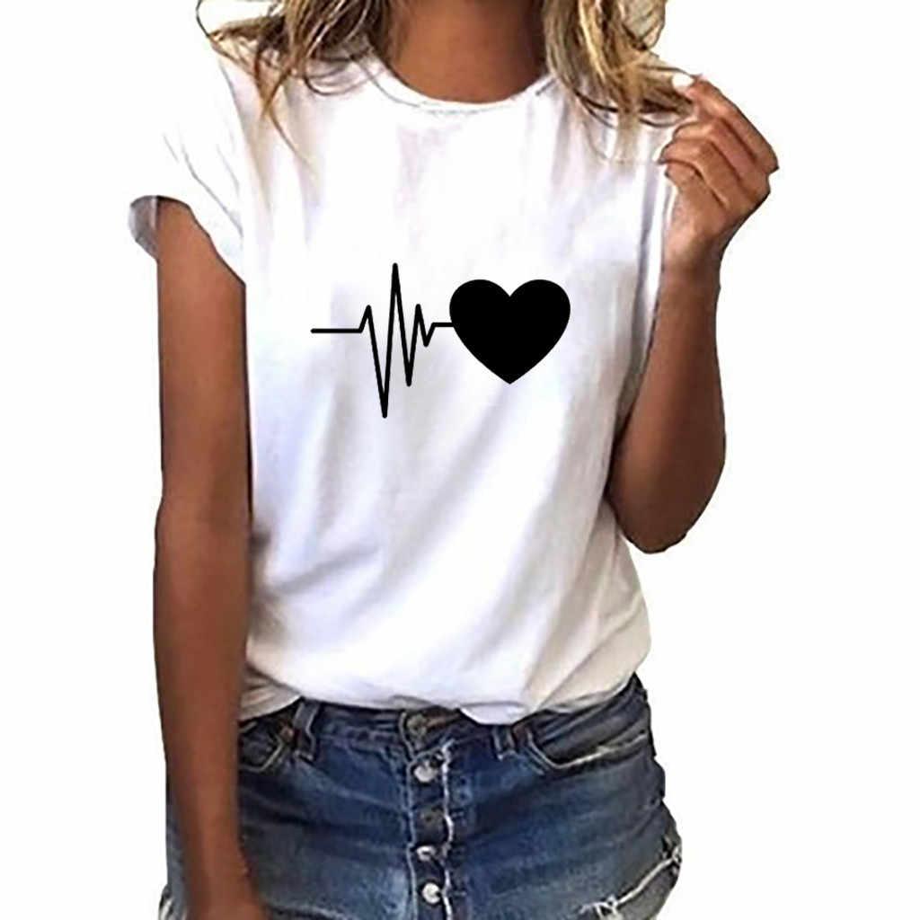 Longgar Lengan Pendek Jantung Cetak T Shirt Wanita Gaya Korea Lengan Panjang Leher O Ukuran Feminino Top Kasual Sederhana pakaian