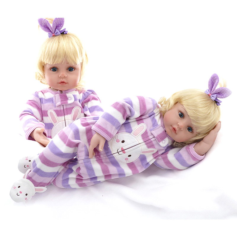 New 22in 55cm Soft Cotton Body Lifelike Newborn Baby Girl With Golden Hair Stripe Clothes Adora Silicone Baby Dolls Reborn ToysNew 22in 55cm Soft Cotton Body Lifelike Newborn Baby Girl With Golden Hair Stripe Clothes Adora Silicone Baby Dolls Reborn Toys