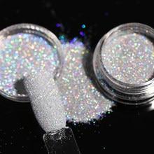 1 коробка голографическая пудра для ногтей, блестящий цвет, градиентный порошок для ногтей, хромированная пыль, маникюр, сияющее украшение д...