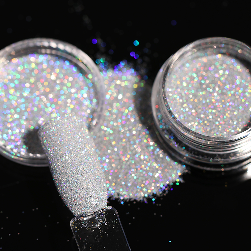 1g/Box Shining Sugar Glitter Nail Powder Black White Sliver Glitter Dust Powder Nail Art Decoration 8 Colors Manicure