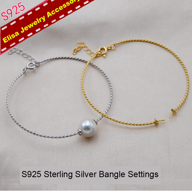 S925 Sterling Silver Pearl Bangle Fittings Twist Design Pearl Bracelet Components Silver Gold Color 3Pieces Lot