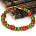 Горячие продажи натуральный красный коралл зеленый камень джаспер abacus 5*8 мм бусы браслеты женщины оригинальный дизайн, элегантный ювелирные изделия 7.5 inch B2961