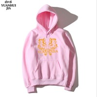 NEW YUANHUIJIA Autumn Winter Fashion Men Women Hoodies With Cap Print Red Printing New Fashion Hoodies
