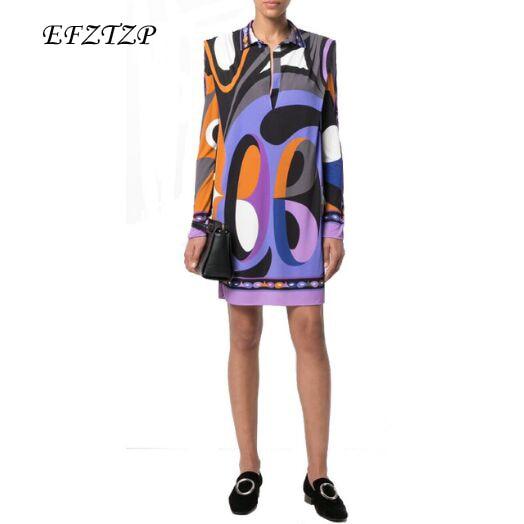 5792ed6dd4445 US $43.49 25% OFF|New 2018 Fashion Designer Brand XL XXL Dress Women's Long  Sleeves purple Geometry Printed Stretch Jersey Silk Day Dress-in Dresses ...