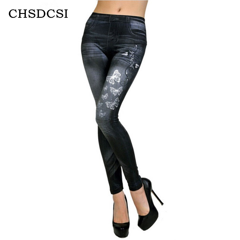 CHSDCSI Hot Sale New Women Faux Denim Jeans Fashion Stretchy Leggings Skinny Jeggings Bottoms Blue Pants Butterfly Print Legging