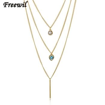 954341c648fd 2016 Cristal de oro de color multicapa Collares de cadena para las mujeres  Accesorios mal de ojo collar largo joyas sne150823