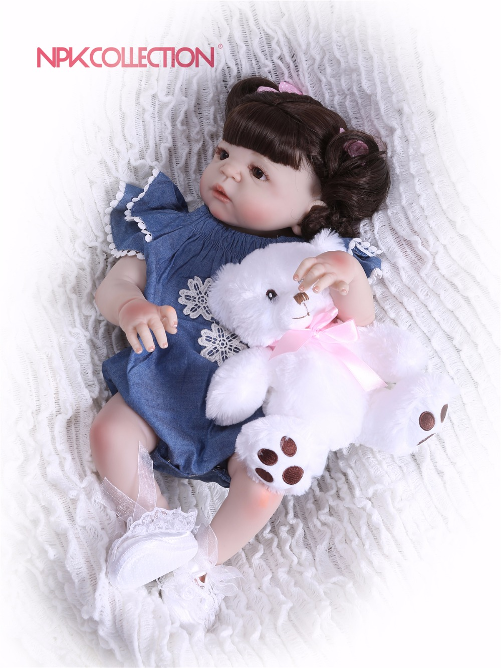 NPKCOLLECTION New Hairstyle Girl Doll Full Silicone Body Lifelike Bebe Reborn Princess Girl Doll Handmade Baby Toy Kids Gifts new arrival 23 57cm baby girl doll full silicone body lifelike bebe reborn bonecas handmade baby toy for kids christmas gifts