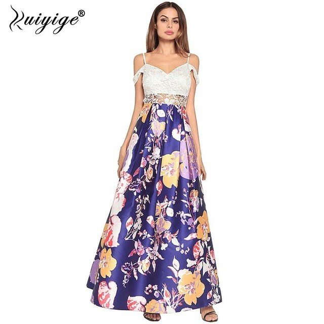 Ruiyige Women Lace Patchwork Party Maxi Dress Sexy Hollow Out Strapless Backless Floral Print Zip Long Elegant Evening Vestido