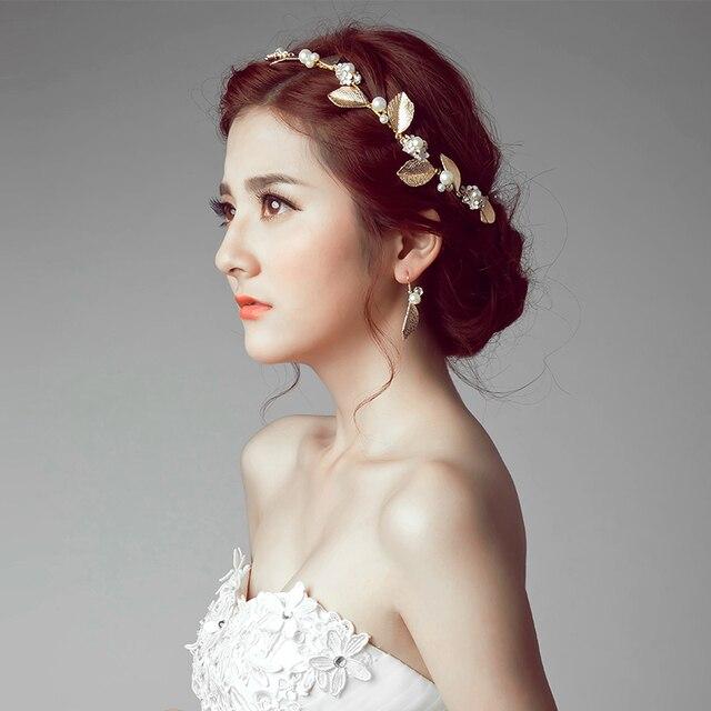 Famous Brand 2 Pieces Headwear Earrings Bride Lace Leaves Pearl Crystal Headdress Jewelry Sets Korean
