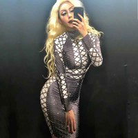 Fashion Rhinestone Perspective Dress Dance Costumes Women Birthday Celebrate Party Dress Costume Dance Dress Rave Outfit DJ156