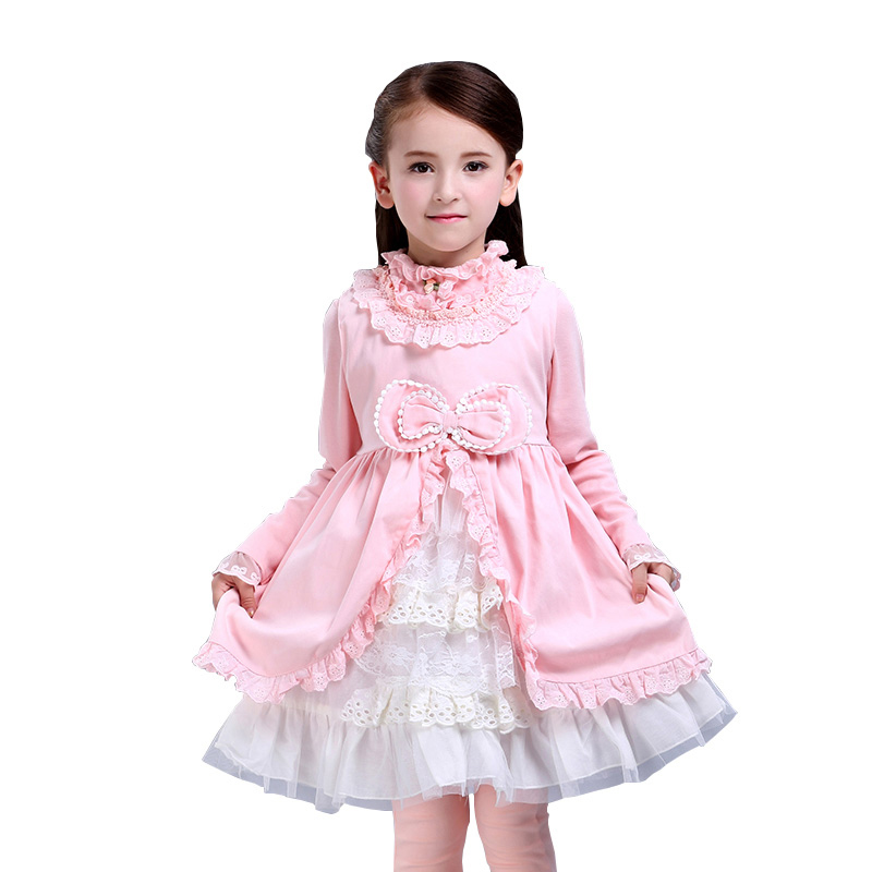 Autumn Girls Dress Kids Princess Dress for Girls Baby Cotton Lace Bow Layered Royal Costume for Daughter High Quality 3y-10y цена 2017