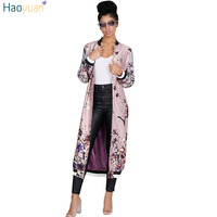 HAOYUAN Pink Floral Print Long Trench Coat Autumn Winter Women Kimono Overcoat Single Breasted Maxi Ladies