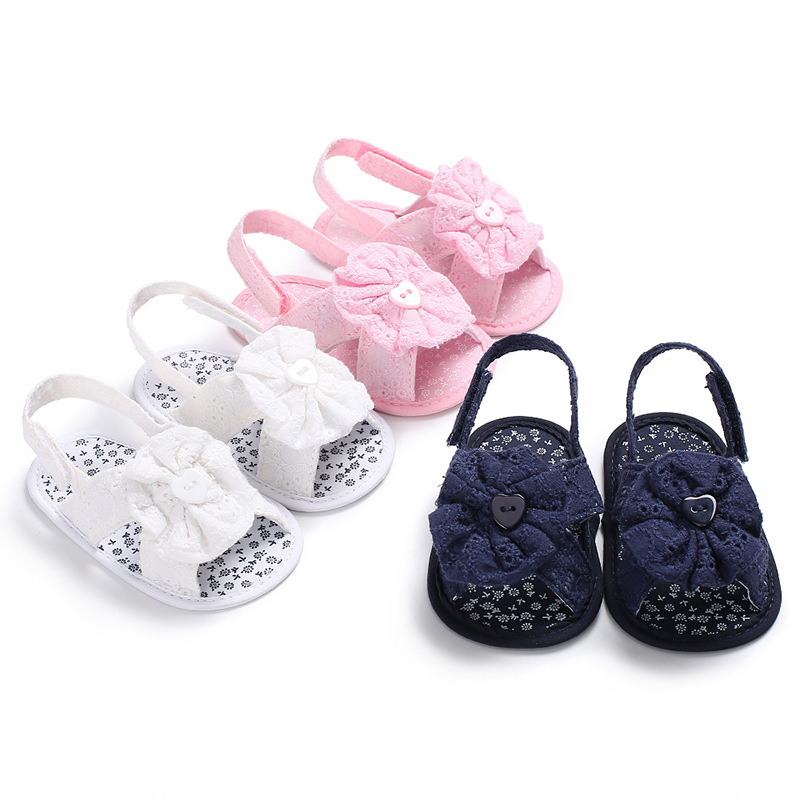 New Summer 0-1 Year Old Female Baby Girl Solid Color Flower Sandals Soft Bottom Non-slip Baby Toddler Shoes Infant Prewalkers