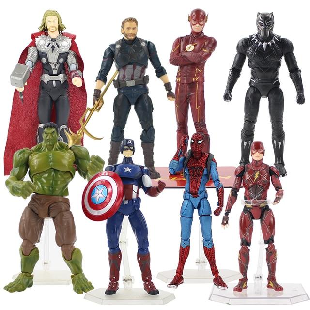 15-19 cm Figma Spiderman 199 Capitão América Avengers Infinito Guerra 226 271 Thor 216 Pantera Negra O Flash figura PVC Brinquedo