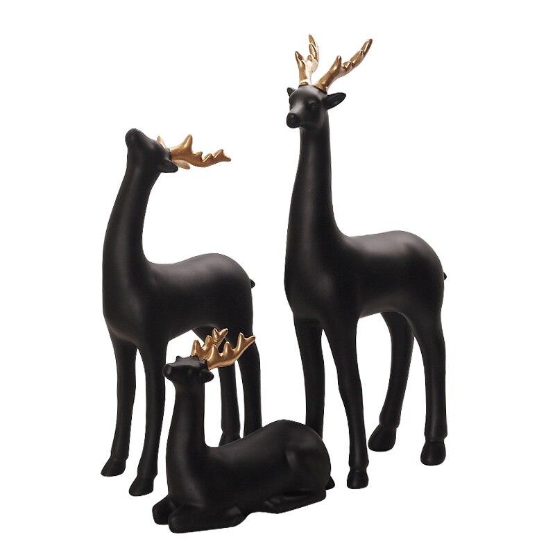 Eenvoudige moderne art decoratie decoraties Woninginrichting herten zwarte hars hars ambachten - 5