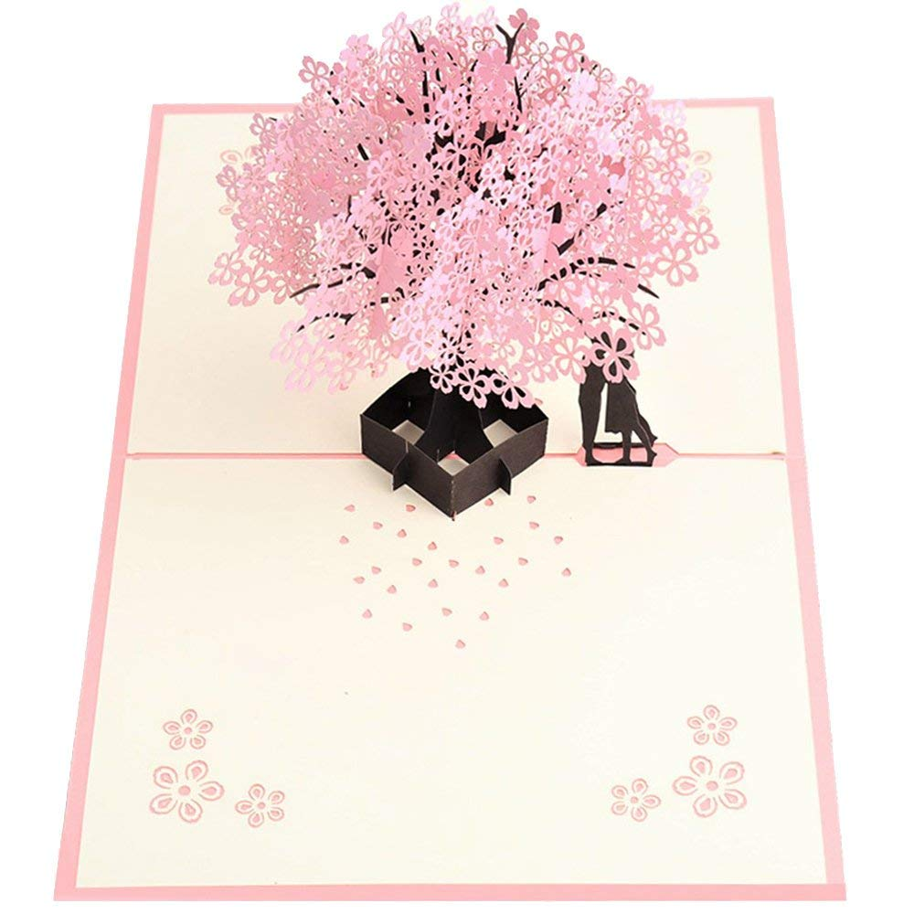 US $3 3 12% OFF|Handmade Pop Up Romantic Birthday, Anniversary, Dating Card  for Husband, Wife, Boyfriend, Girlfriend Cherry Blossom Tree-in Cards &