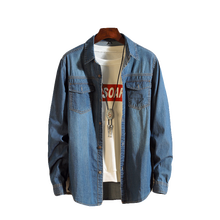 Denim shirt mens spring and summer denim thin section slim solid color simple washed long-sleeved