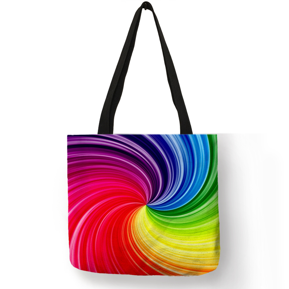 Colorful Rainbow Geometry Design Fabric Tote Bag Eco Linen Shopping Bags Reusable Women's Handbags
