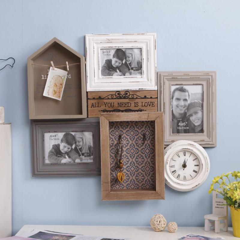 Home Decor Wooden Photo Frame Set Picture Frame Clock