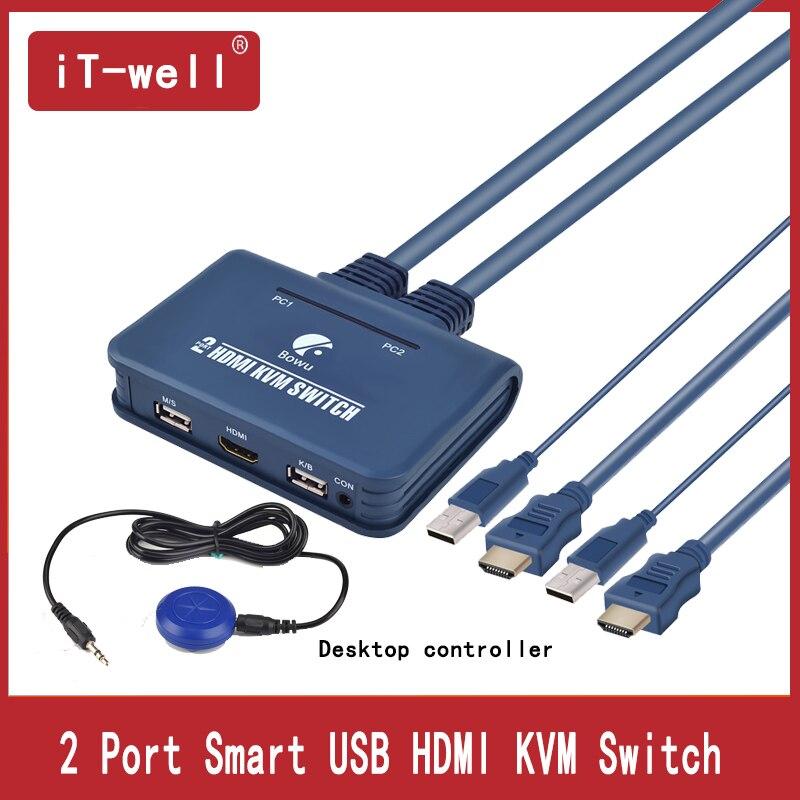 2 puerto USB HDMI Switch KVM Switcher con Cable para Monitor Dual ratón teclado soporte de conmutador HDMI controlador de escritorio conmutación