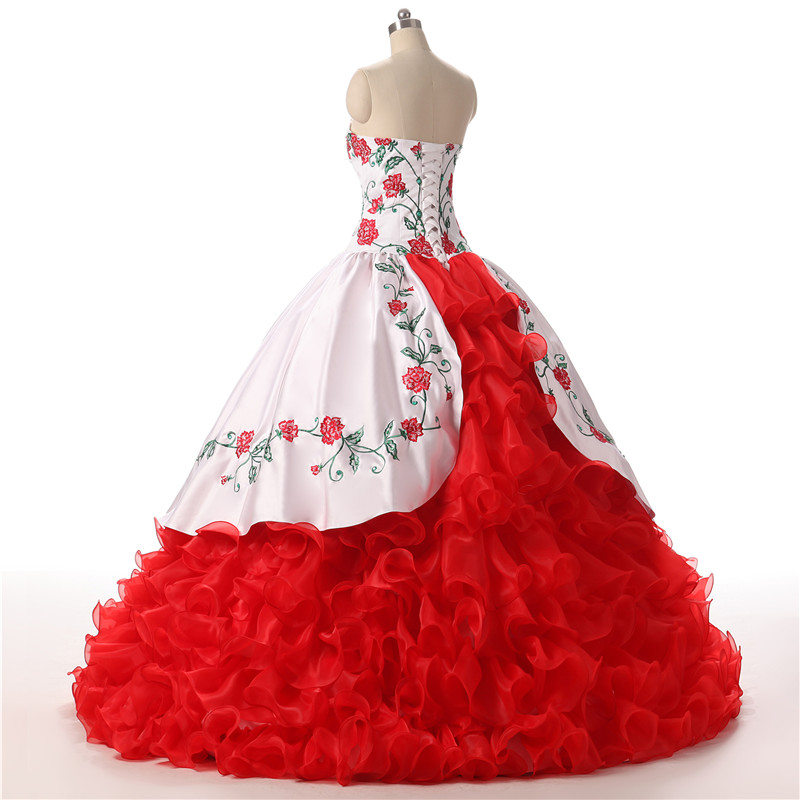Vintage quinceanera dresses 2018 ball gown red white embroidery ruffles vestidos  de 15 anos sweet 16 dress prom debutante gowns 878dda2834c0