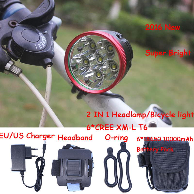 2 In 1 High Power 6 x Cree XM-L T6 LED 3 Modes Bike Light Bicycle Front Lamp Headlight Headlamp + Battery Pack + Charger